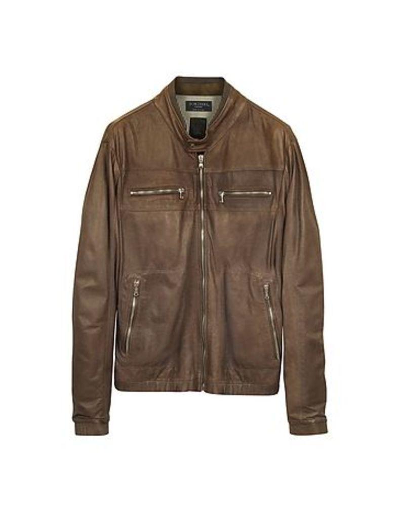 Forzieri - Genuine Leather Brown Motorcycle Jacket