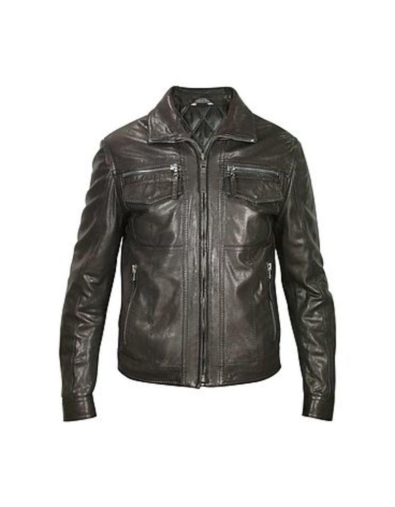 Forzieri - Men's Black Genuine Leather Motorcycle Jacket