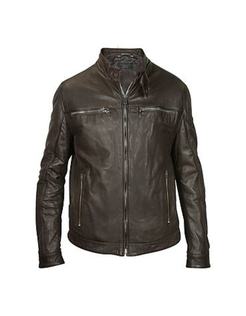 Forzieri - Men's Dark Brown Leather Motorcycle Jacket