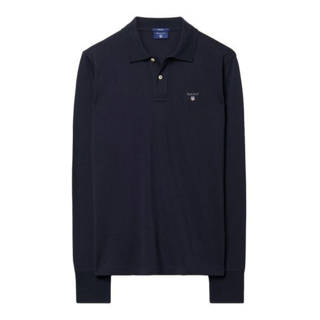 Long-sleeved Polo Shirt - Marine