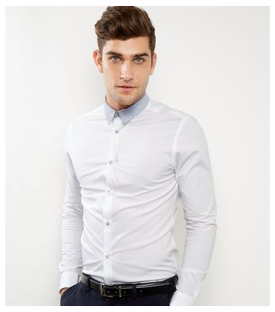 White Contrast Collar Long Sleeve Shirt