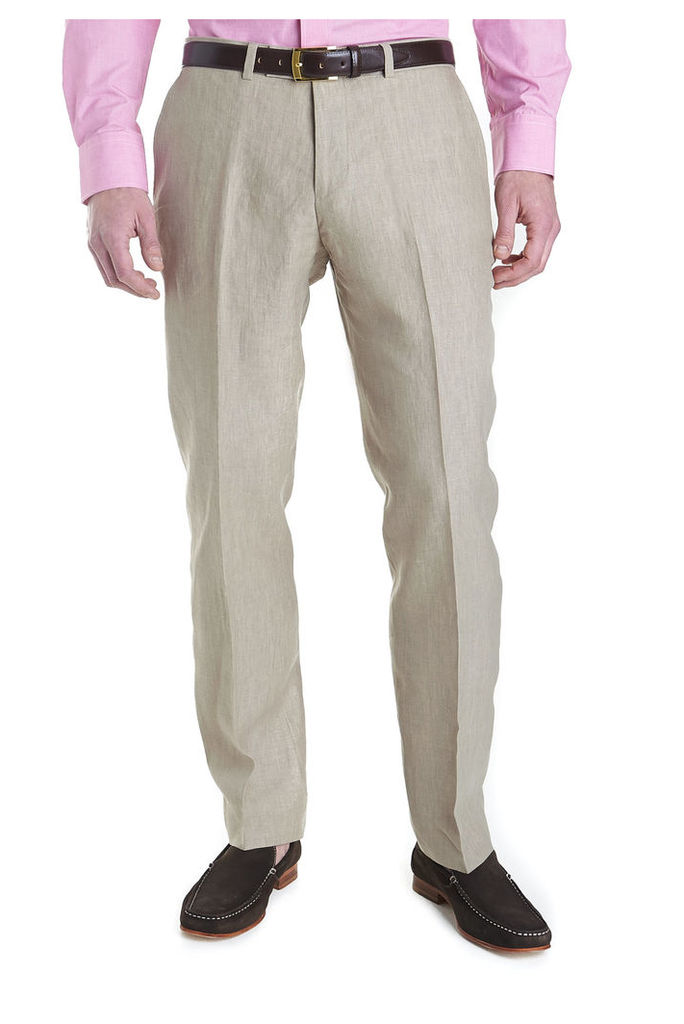 French Connection Tailored Fit Linen Trouser Beige