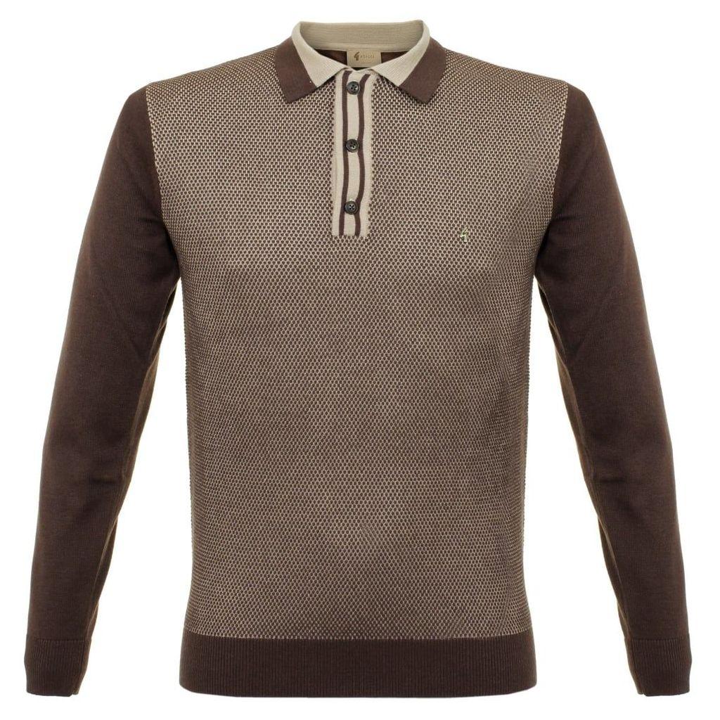 Gabicci Vintage Knit Coffee Polo Shirt V37GM11