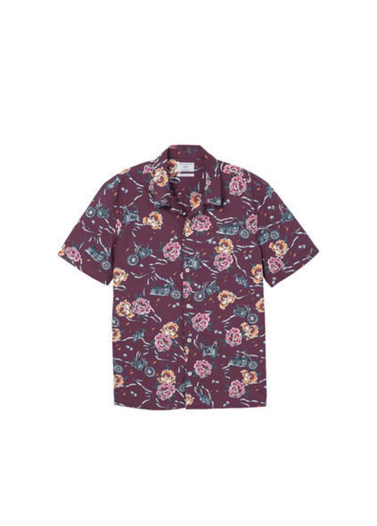 Regular-fit printed cotton shirt