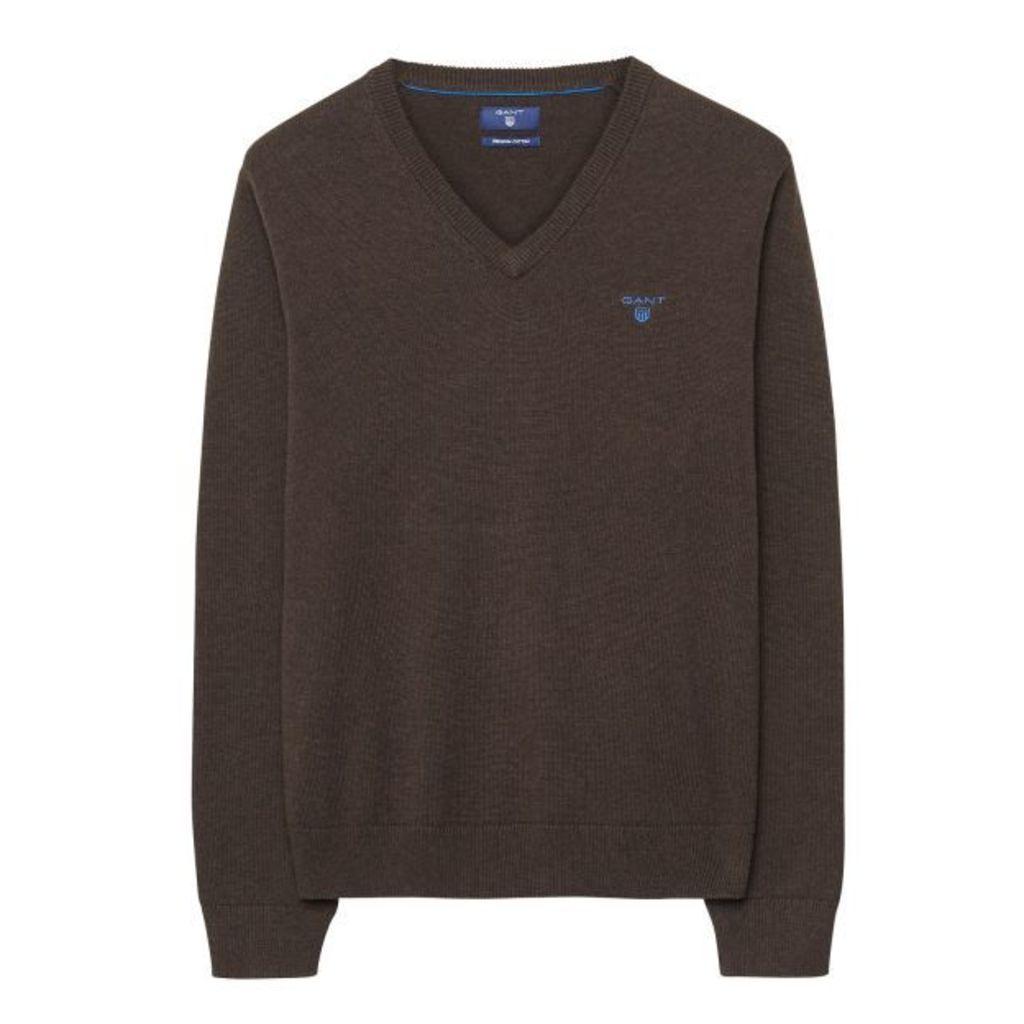 Contrast Cotton V-neck Jumper - Dk Brown Melange
