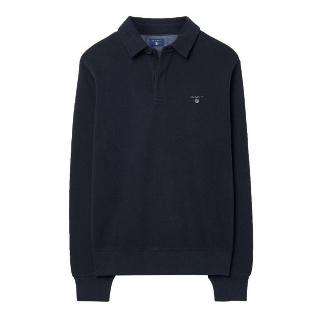 Sacker Rib Button Collar Sweatshirt - Navy