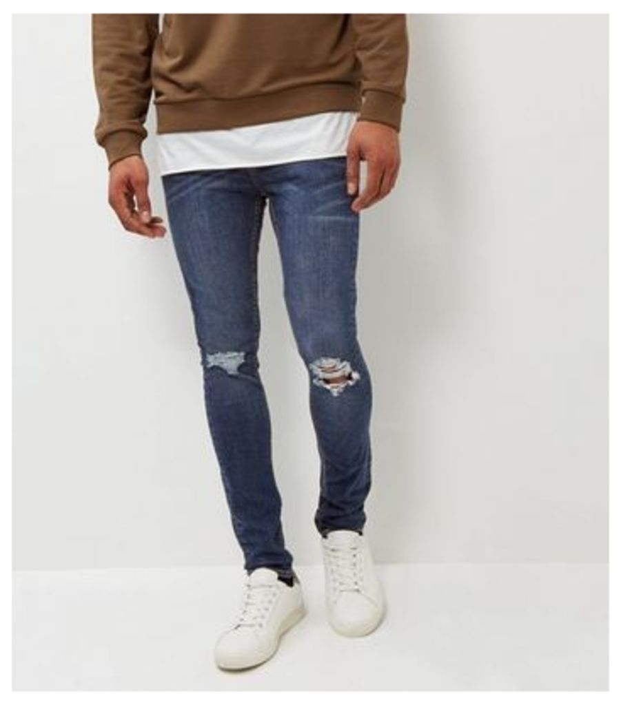 Blue Ripped Knee Super Skinny Jeans