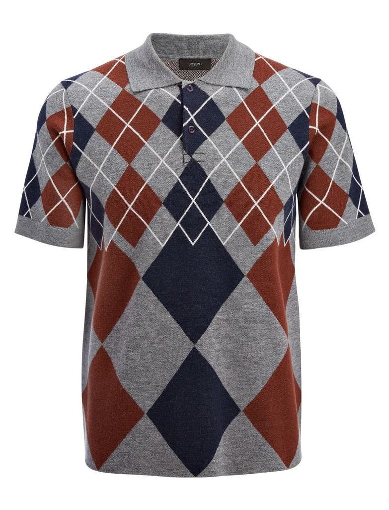 Argyle Knit Polo in Grey Chine