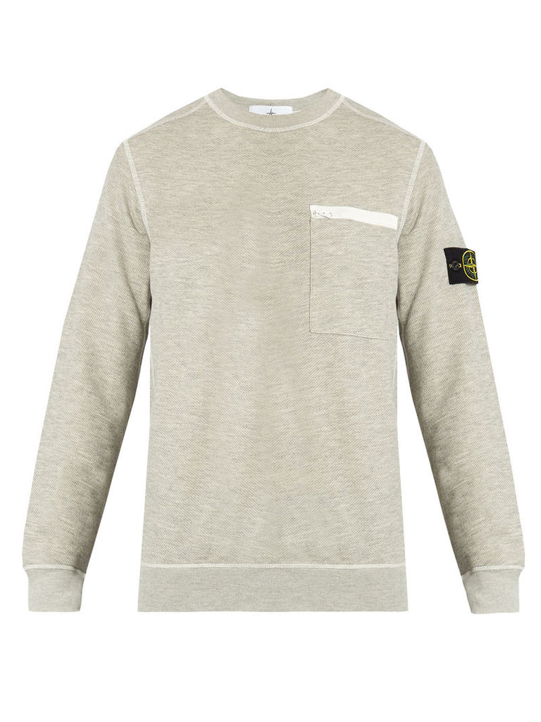 Contrast-stitch cotton-blend sweatshirt