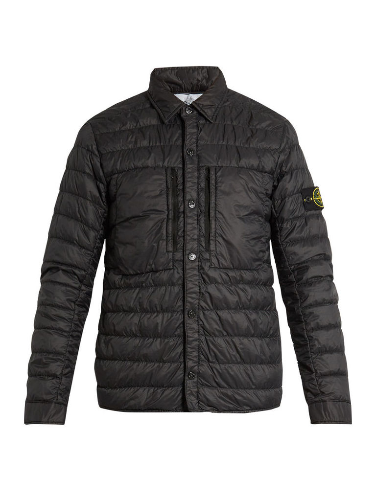 Point-collar quilted down jacket