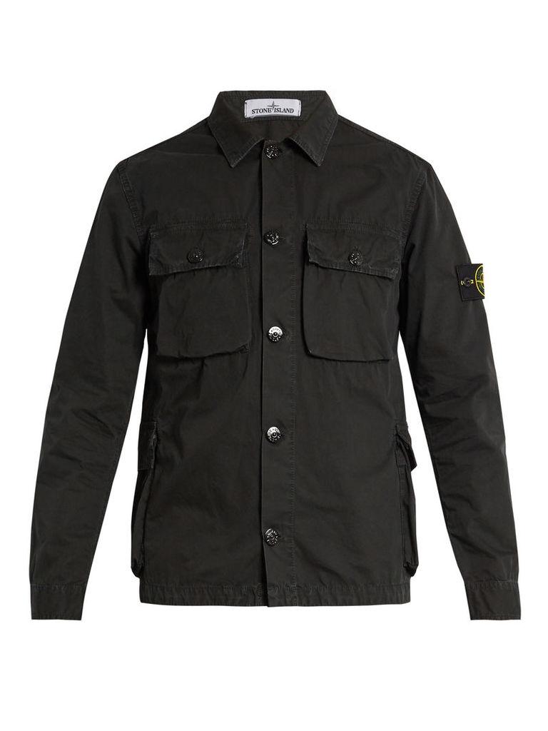 Button-down brushed-cotton cargo jacket