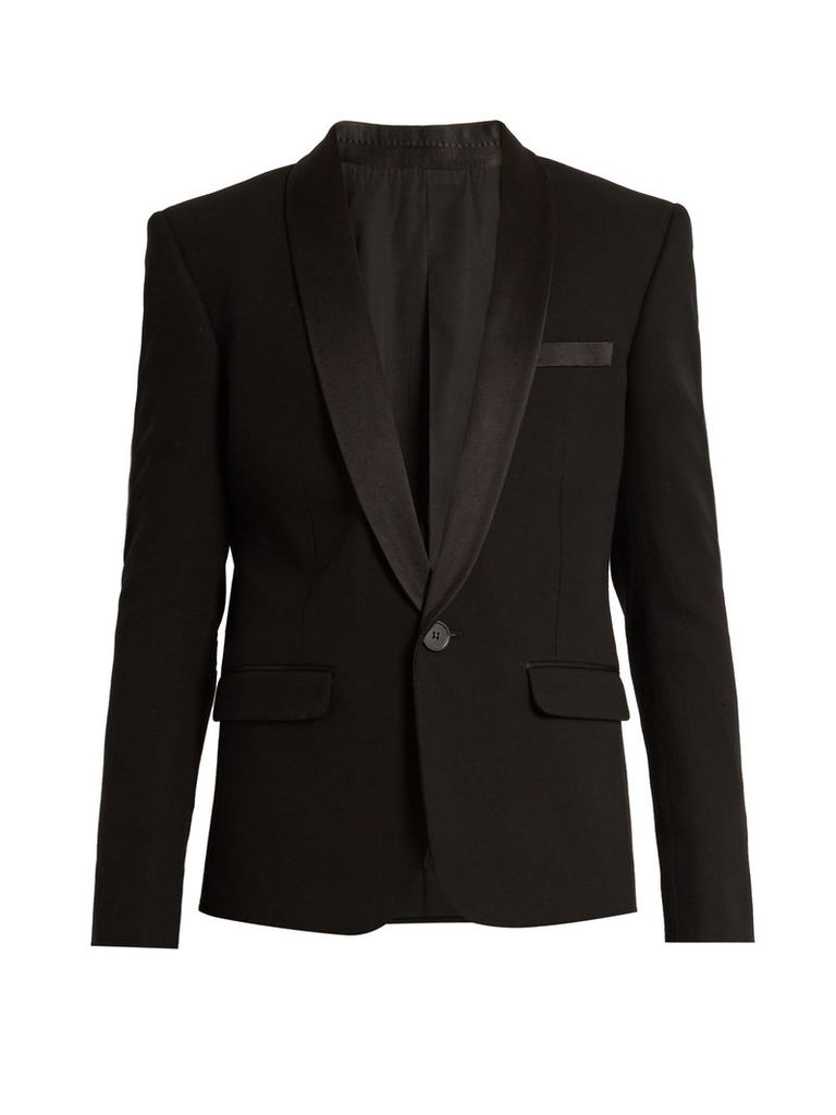 Satin-lapel single-breasted tuxedo jacket