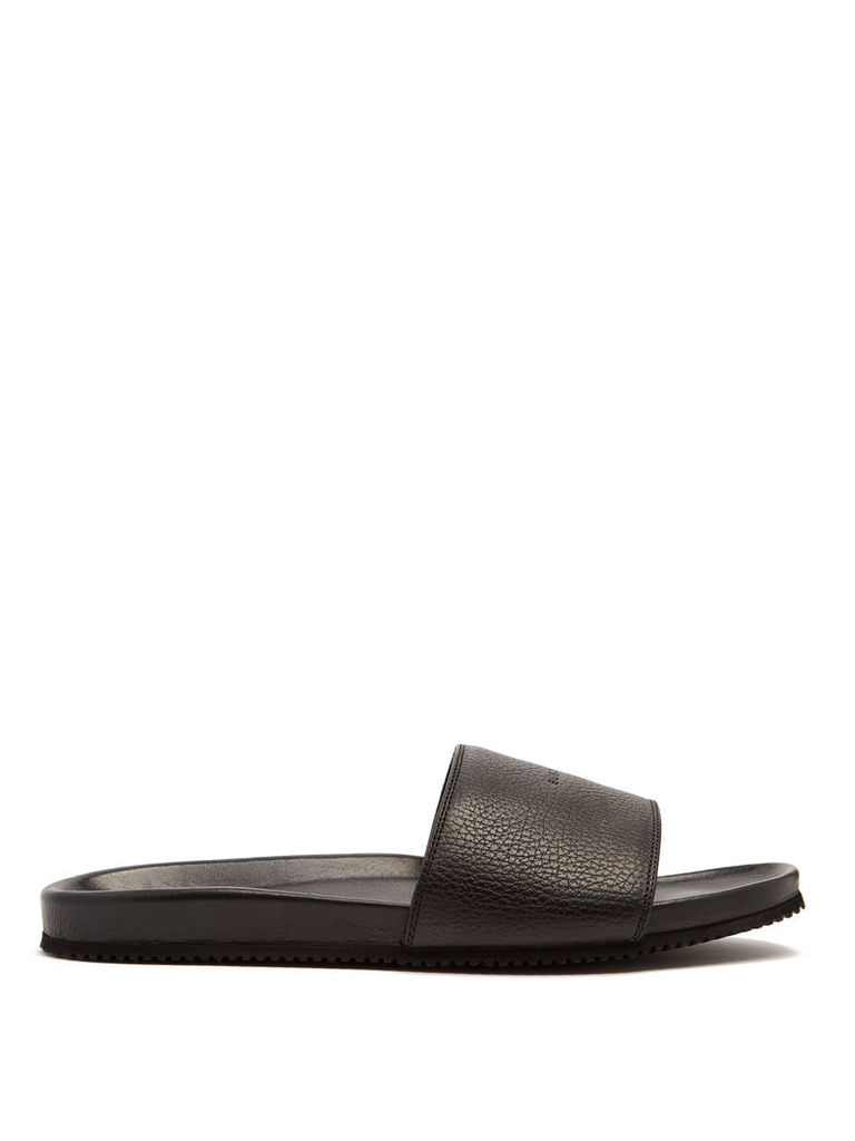 Logo-debossed leather slides