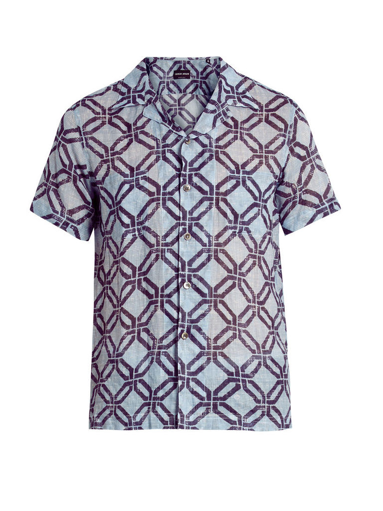 Geometric-print short-sleeved shirt
