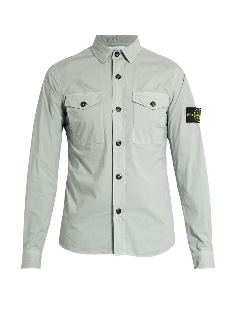 Patch-pocket cotton-blend shirt