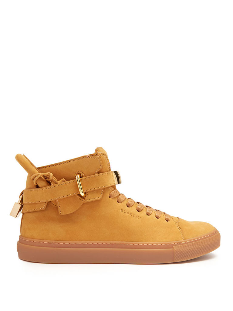 100mm Core Clip suede high-top trainers