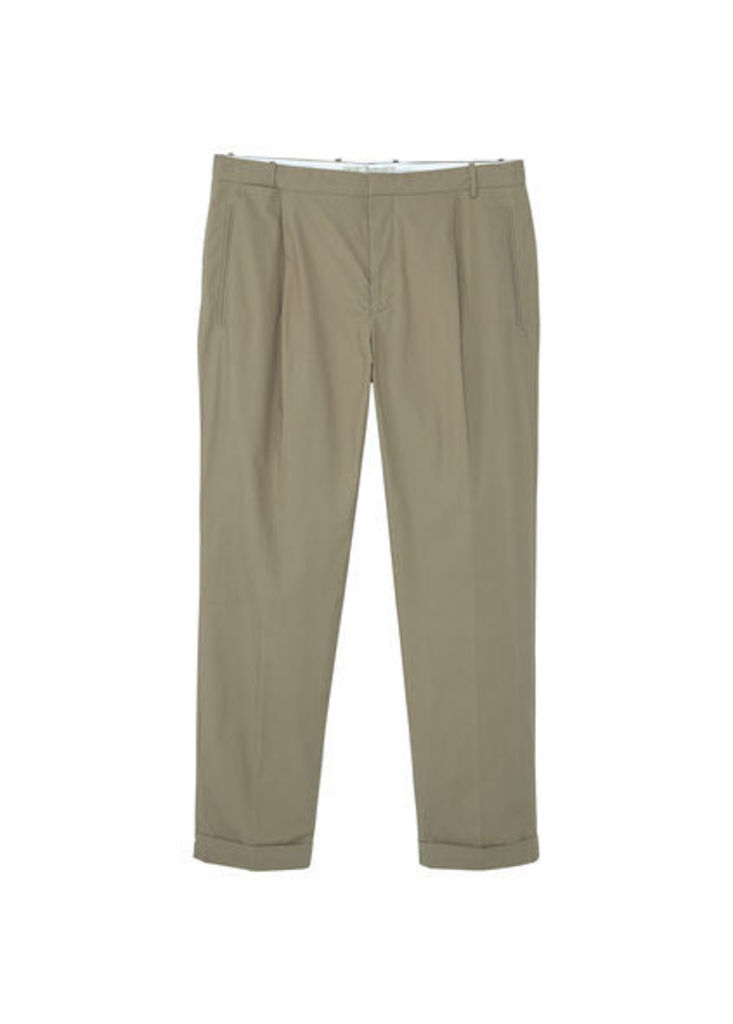 Pleated crop chinos