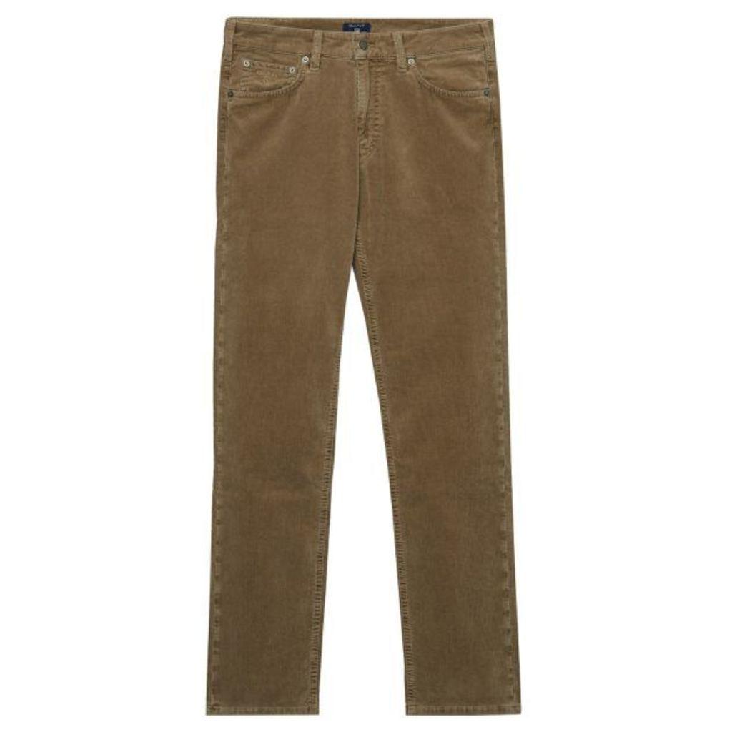 Regular Fit Stone Cord Jeans - Noisette