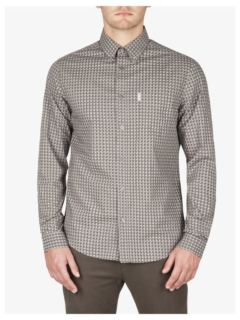Paisley Gingham Overprint Shirt Sml Graphite Grey