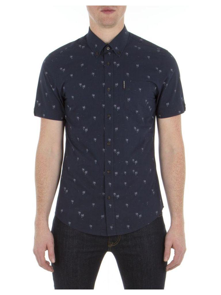 Short Sleeve Palm Tree Print Shirt XXS B51 Navy Blazer