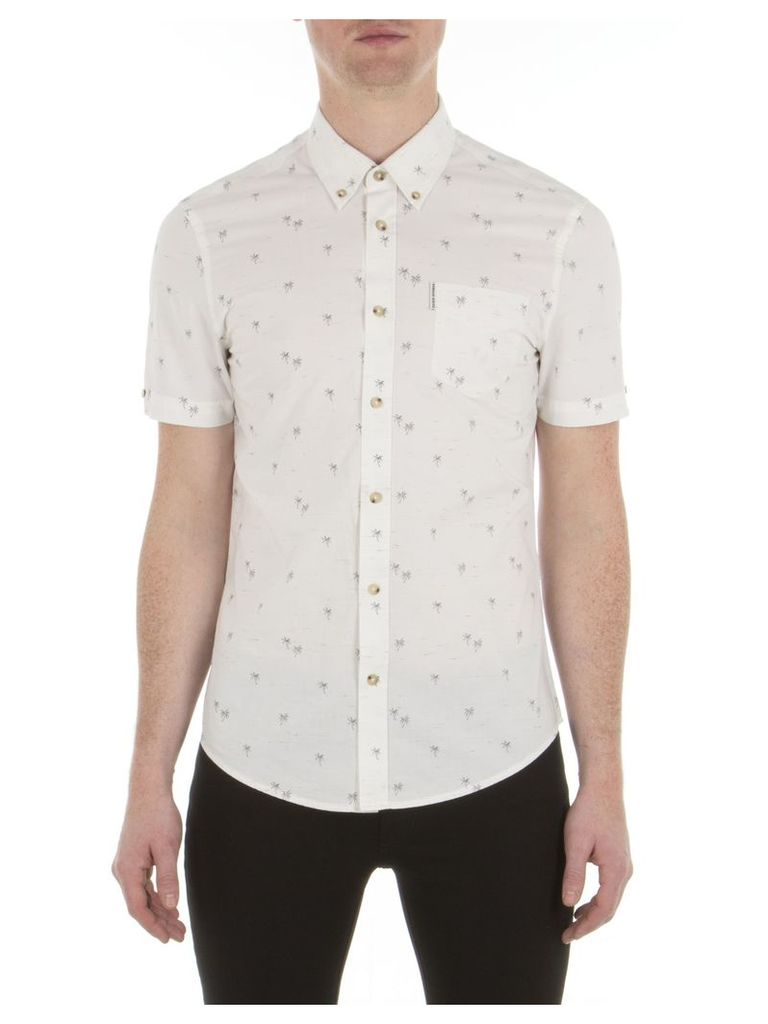 Short Sleeve Palm Tree Print Shirt XXS A47 Bright White