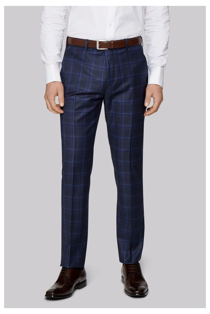Ted Baker Tailored Fit Navy Check Trousers