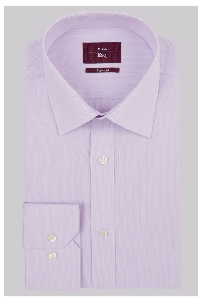 Moss Esq. Regular Fit Lilac Single Cuff Hairline Stripe Non-Iron Shirt