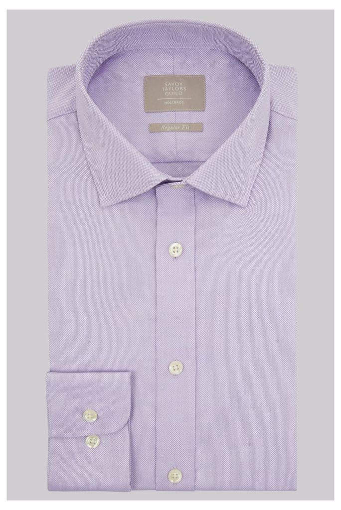 Savoy Taylors Guild Regular Fit Lilac Single Cuff Textured Shirt