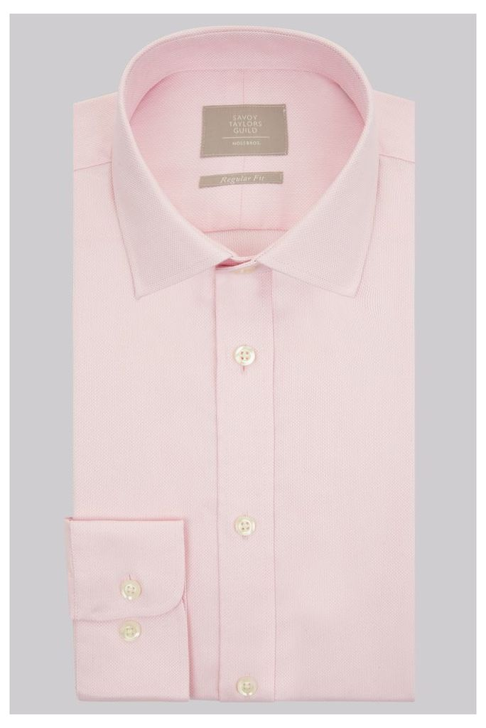 Savoy Taylors Guild Regular Fit Pink Single Cuff Textured Shirt
