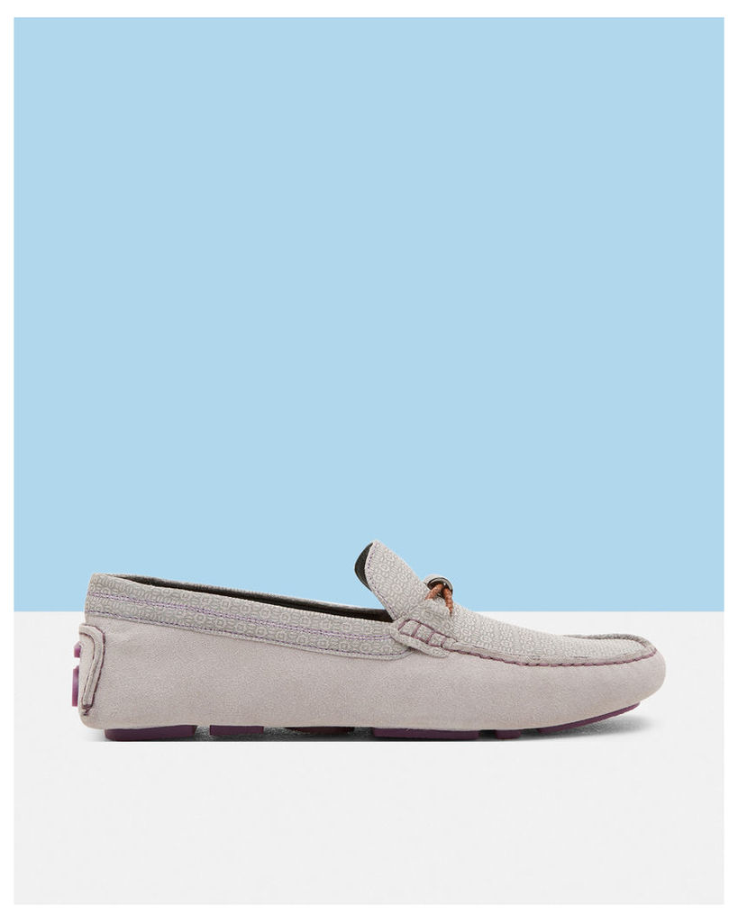 Ted Baker Geo print suede driving moccasins Light Grey