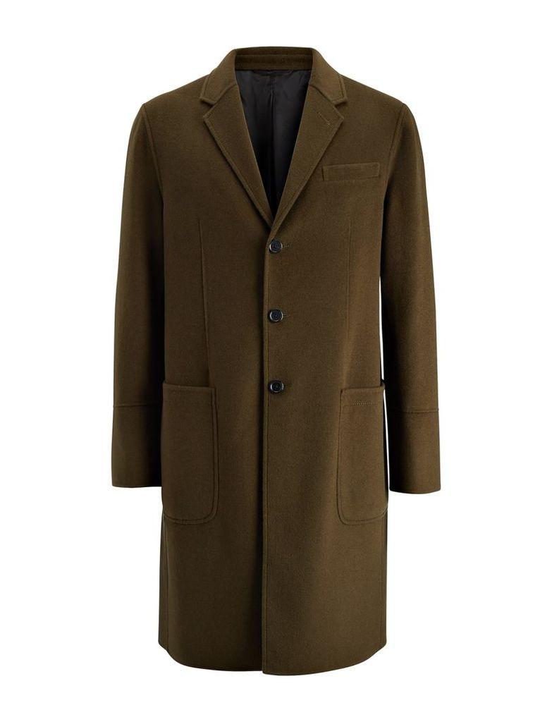 Double Wool Bentley Coat in Dark Khaki