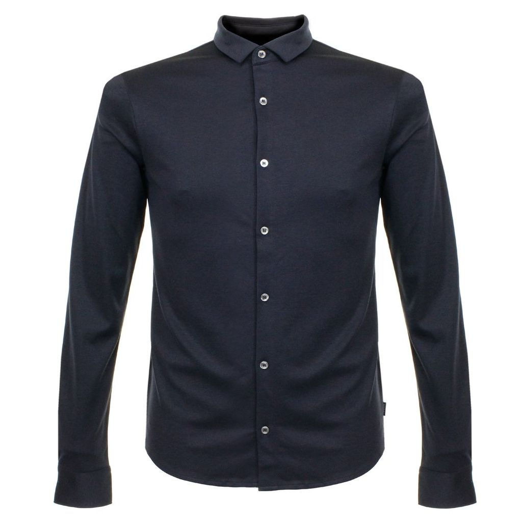 Armani Notte Blue Knit Polo Shirt 3Y6C92