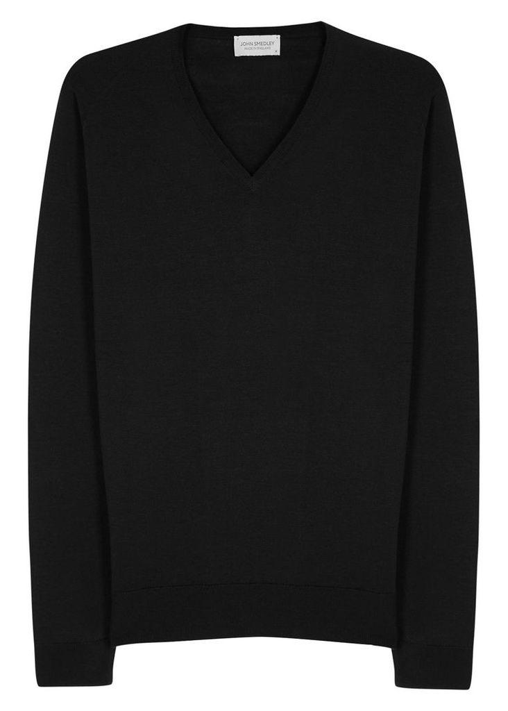 Blenheim black fine-knit wool jumper