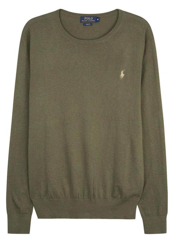Olive cotton blend jumper