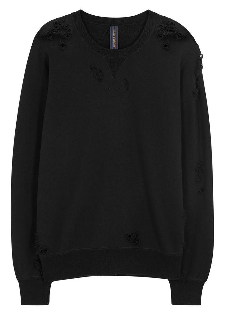 Black distressed cotton sweatshirt