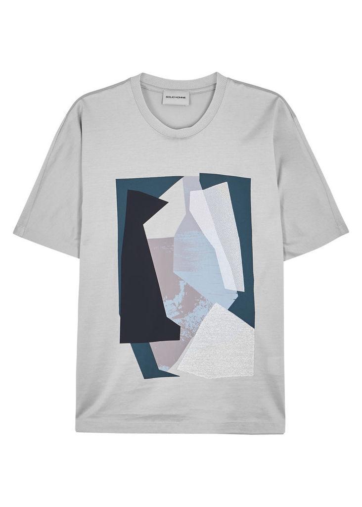 Printed appliquéd cotton T-shirt