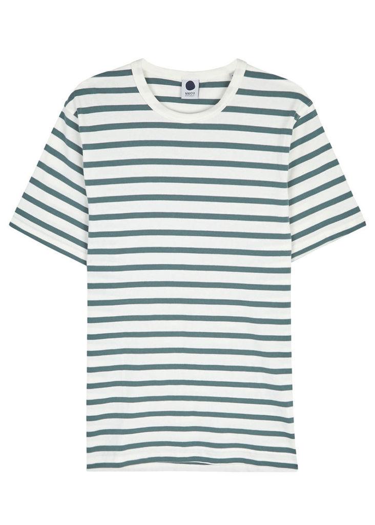 Green striped cotton T-shirt