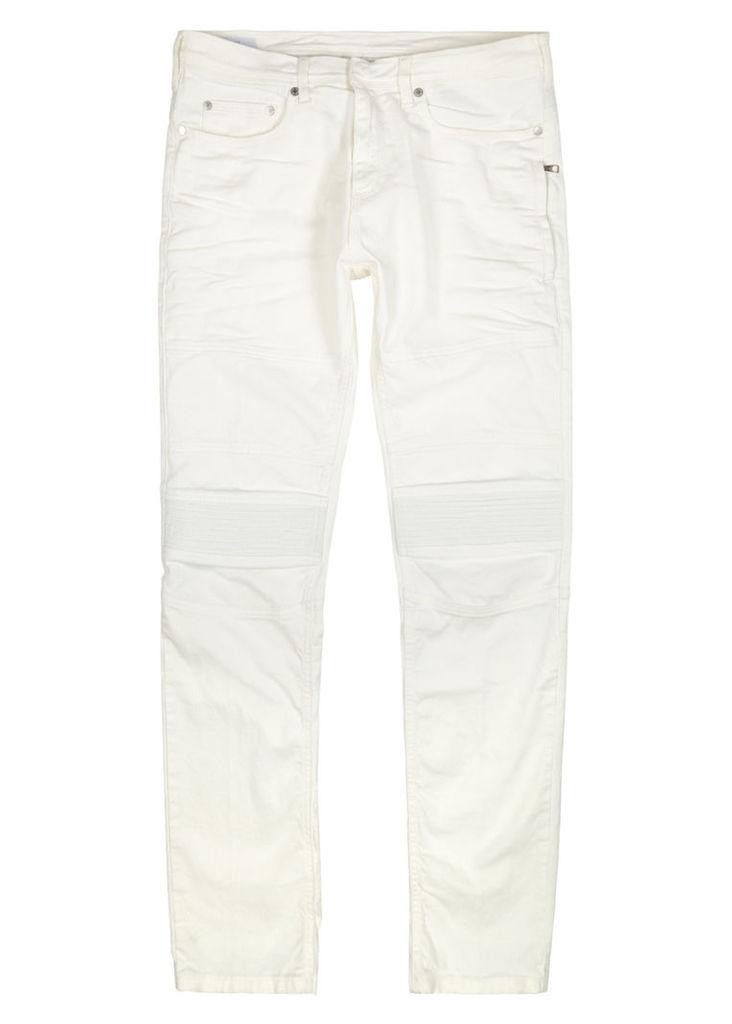 Off white slim-leg biker jeans