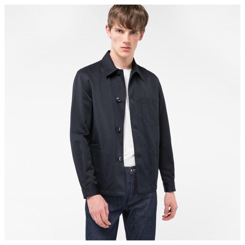 Men's Black Cotton And Linen-Blend Chore Jacket