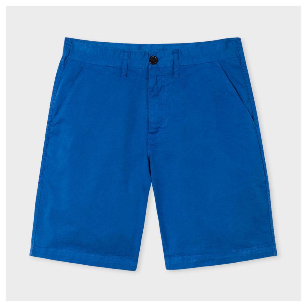 Men's Washed Blue Garment-Dyed Stretch Pima-Cotton Shorts
