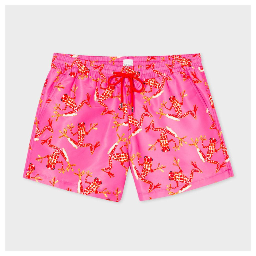 Men's Pink 'Leopard Frog' Print Swim Shorts