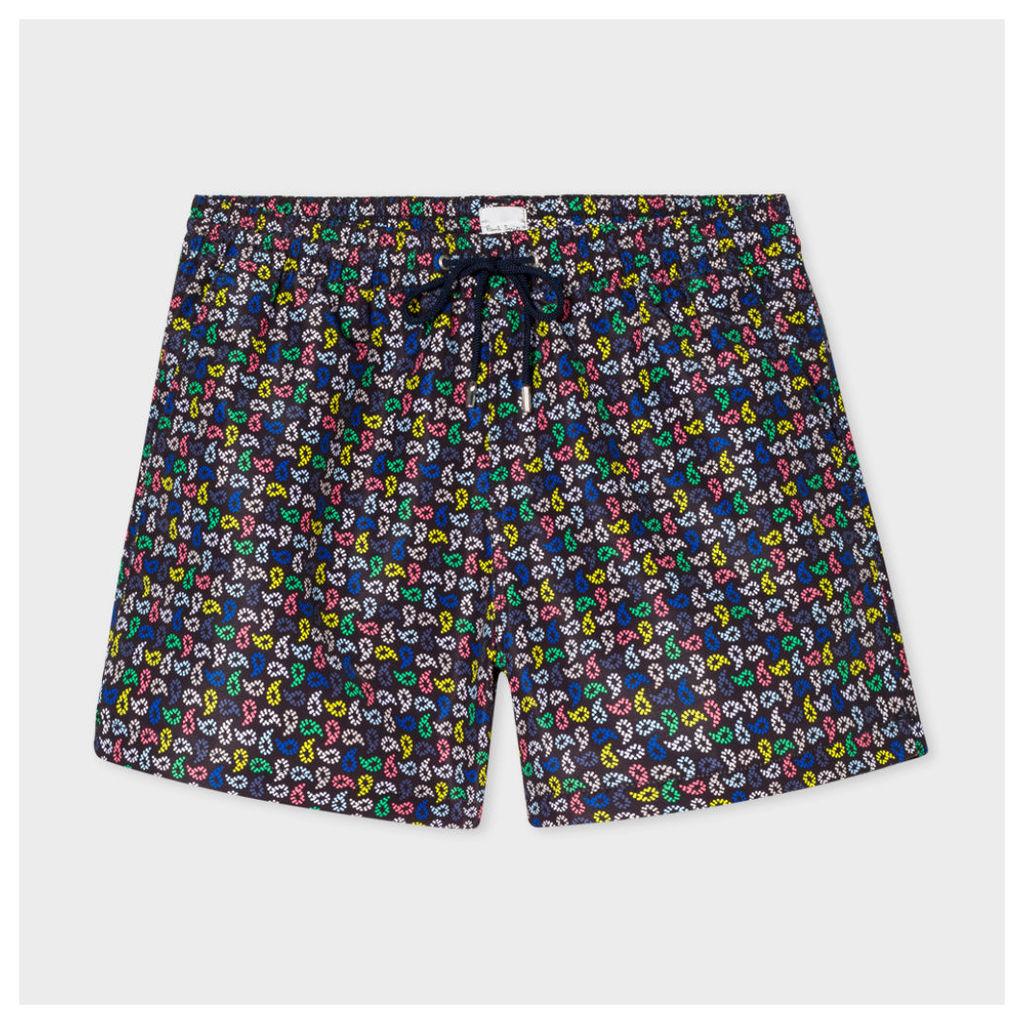 Men's Black 'Spotted Paisley' Print Swim Shorts