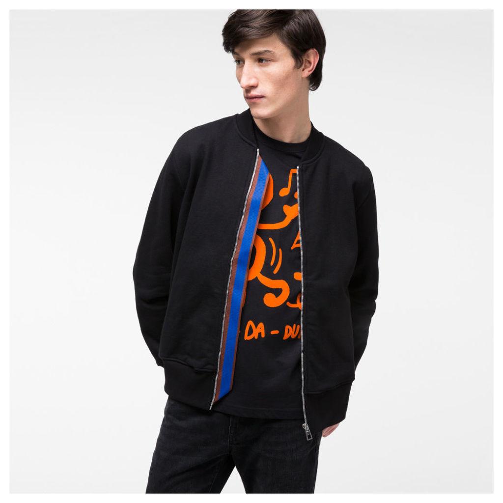 Men's Black Organic-Cotton Jersey Bomber Jacket