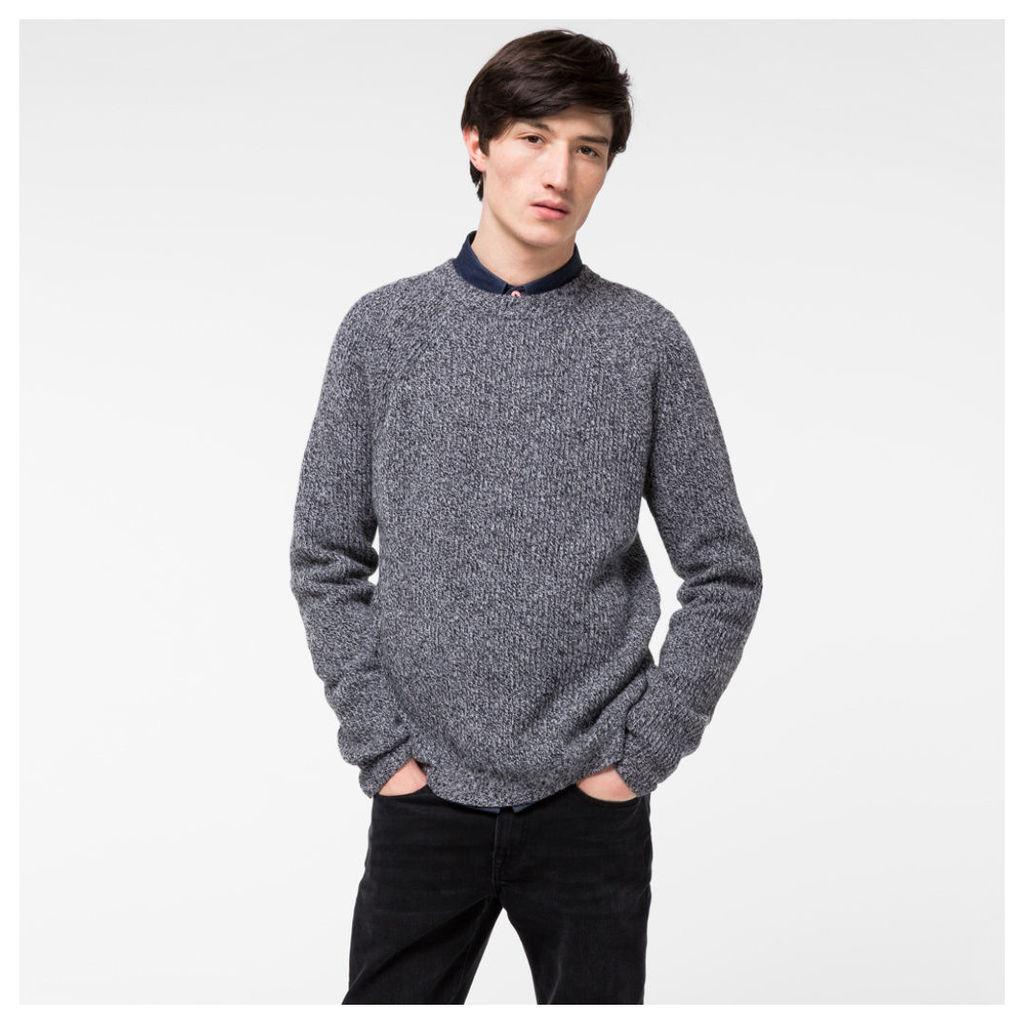Men's Grey Melange Ribbed Merino Wool Sweater