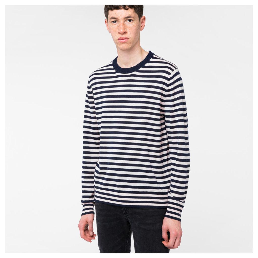 Men's Navy And Light Pink Breton-Stripe Merino Wool Sweater