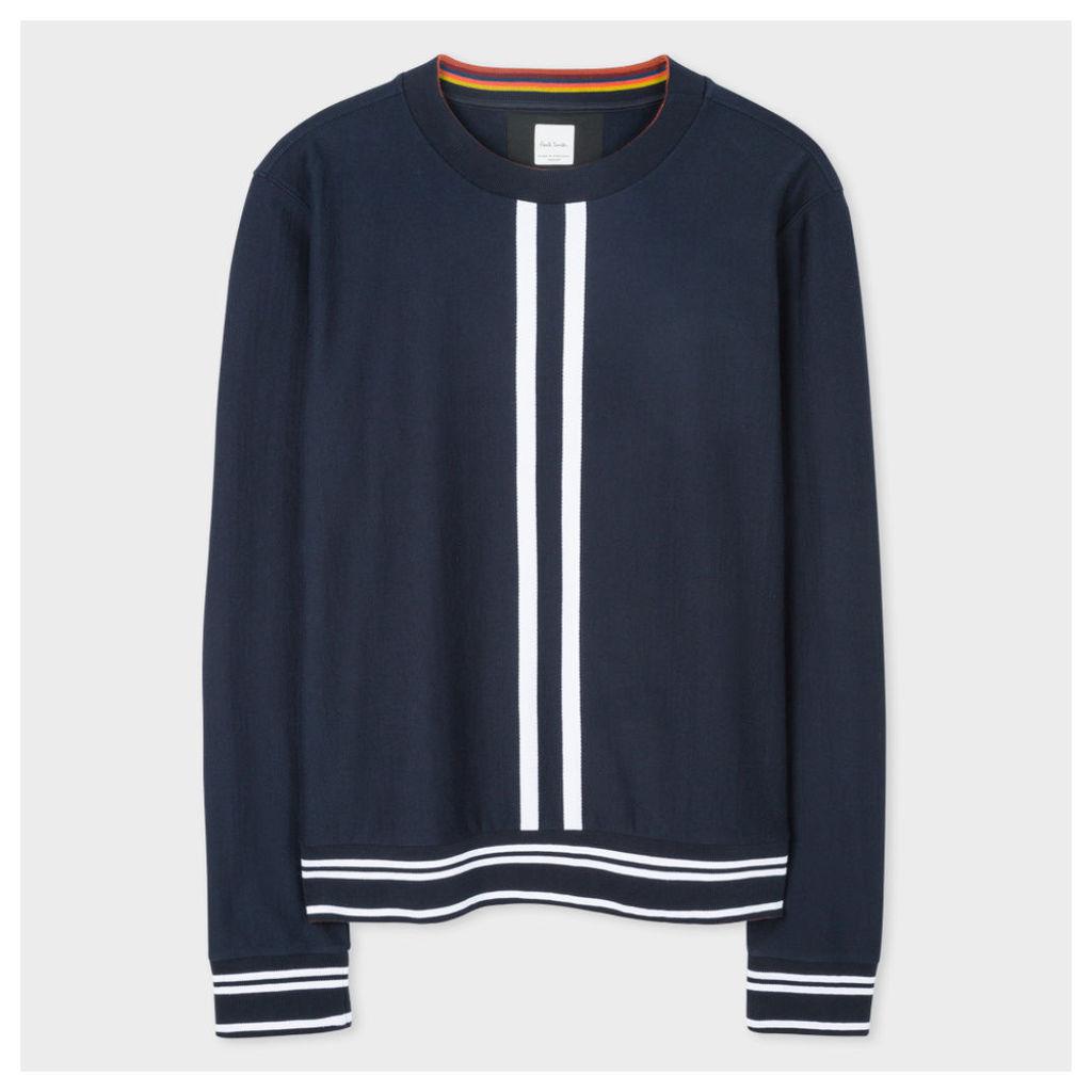 Men's Navy Loopback-Cotton Sweatshirt With Double-Stripe