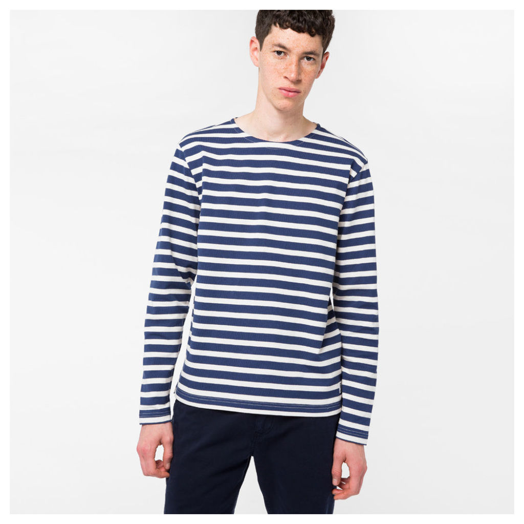 Men's Blue And White Breton-Stripe Long-Sleeve T-Shirt