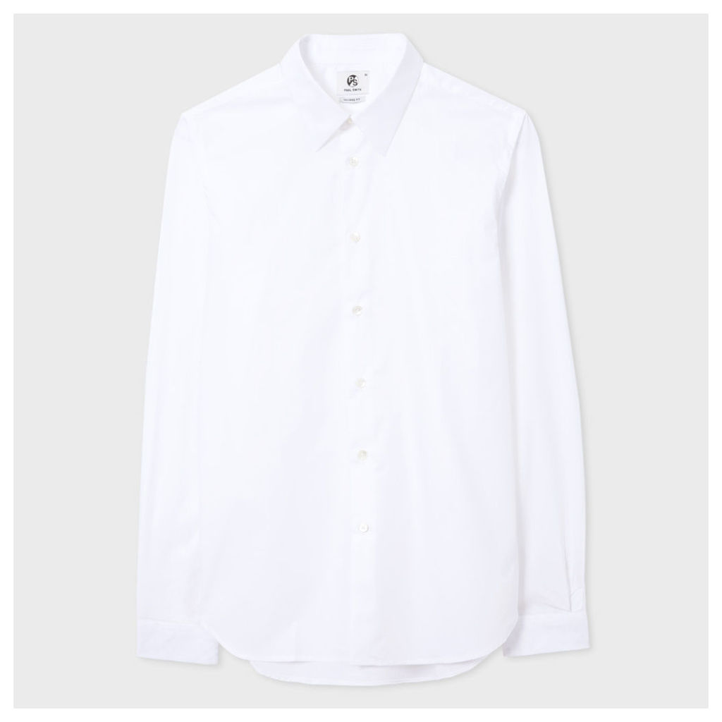 Men's Tailored-Fit White Cotton Shirt With Contrast Cuff Lining