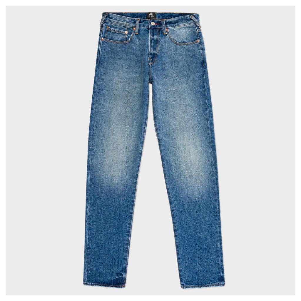 Men's Tapered-Fit Light-Wash Vintage-Style Jeans