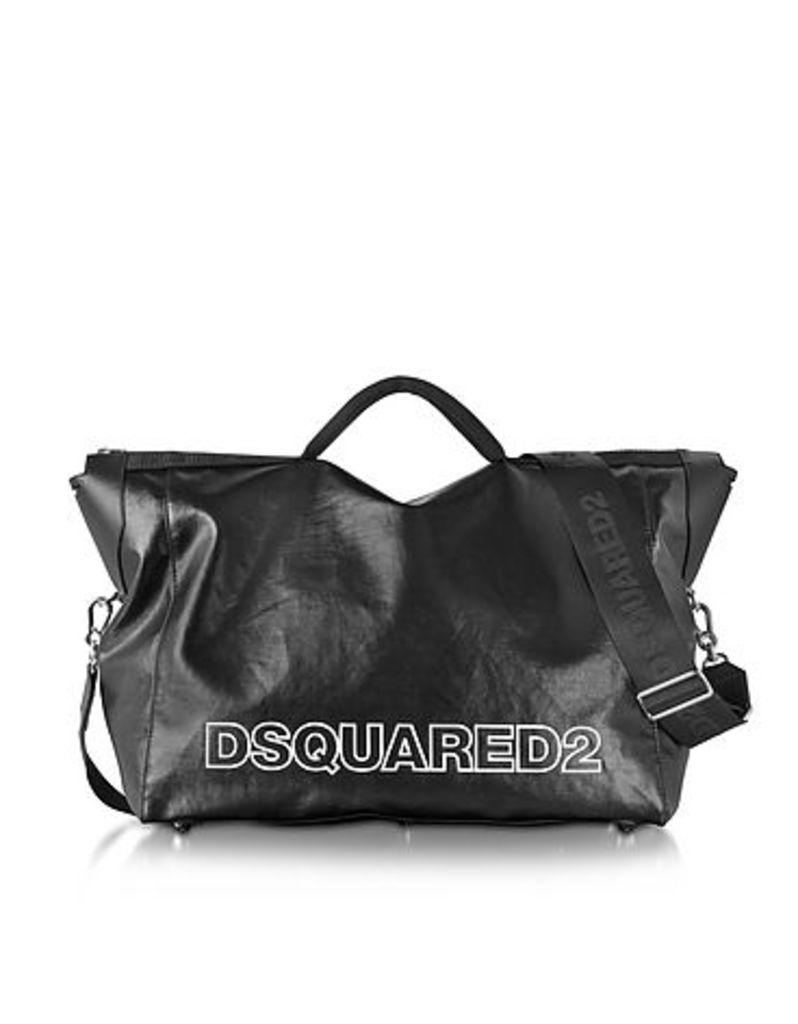 DSquared2 - Oversized Black Coated Canvas Duffle Bag